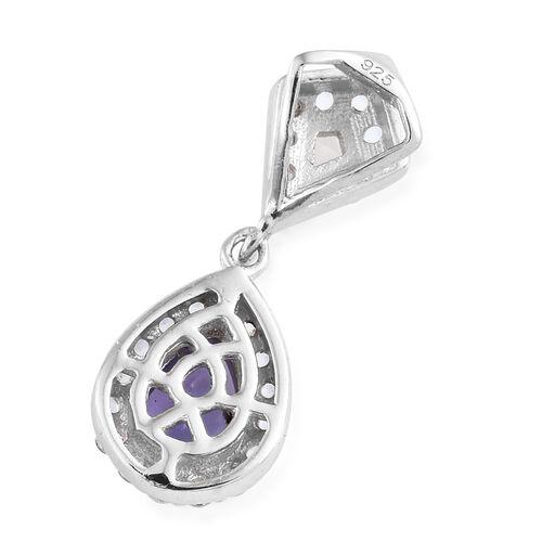 Tanzanite (Pear), White Topaz Pendant in Platinum Overlay Sterling Silver 1.000 Ct.