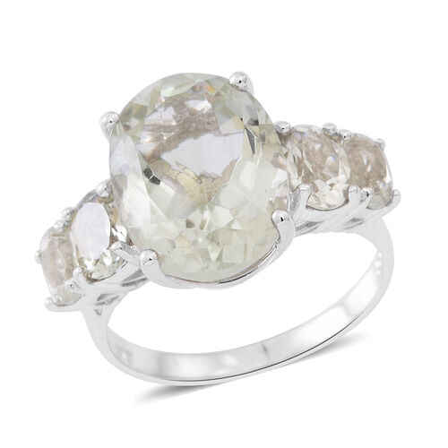 Green Amethyst (Ovl 8.00 Ct) 5 Stone Ring in Rhodium Plated Sterling Silver 10.500 Ct.