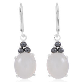 Sri Lankan Silver Moonstone (Ovl), Natural Hematite Lever Back Earrings in Sterling Silver 10.500 Ct.
