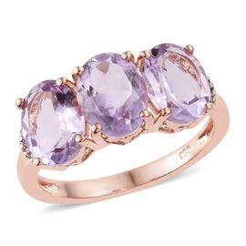 Rose De France Amethyst (Ovl), Diamond Ring in Rose Gold Overlay Sterling Silver 5.000 Ct.