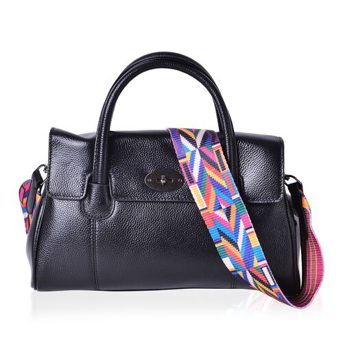 Designer Inspired - 100% Genuine Leather Black Colour Tote Bag with Colourful Removable Shoulder Strap (Size 32X21X13 Cm)
