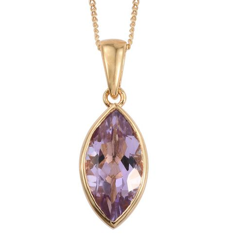 Rose De France Amethyst (Mrq) Solitaire Pendant With Chain in 14K Gold Overlay Sterling Silver 2.500 Ct.