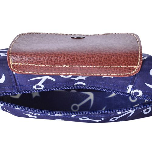 Navy and White Colour Star and Anchor Pattern Crossbody Bag with External Zipper Pocket and Shoulder Strap (25x20 Cm)