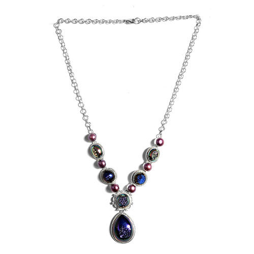 Jewels of India Drusy Agate and Fresh Water Pearl Necklace (Size 18) in Sterling Silver 55.270 Ct.