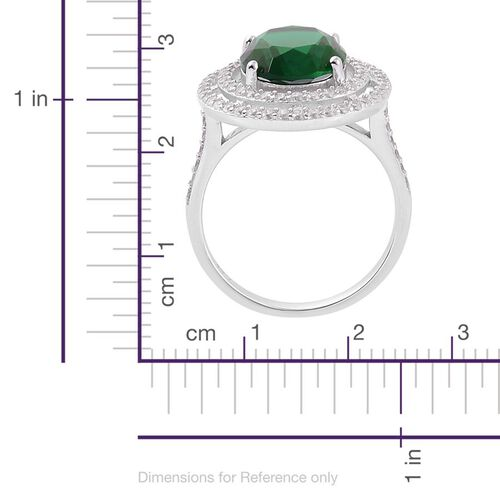 ELANZA AAA Simulated Emerald and Simulated White Diamond Ring in Rhodium Plated Sterling Silver