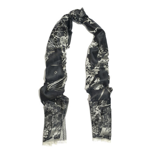 SILK MARK- 100% Superfine Silk Silver Black and Silver Colour Jacquard Jamawar Scarf with Fringes (Size 180x70 Cm)