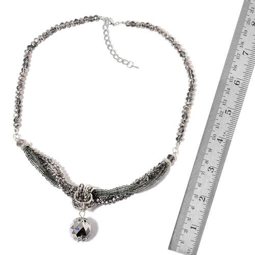 Simulated Black Diamond Multi Strand Necklace (Size 20 with 3 inch Extender) in Silver Tone