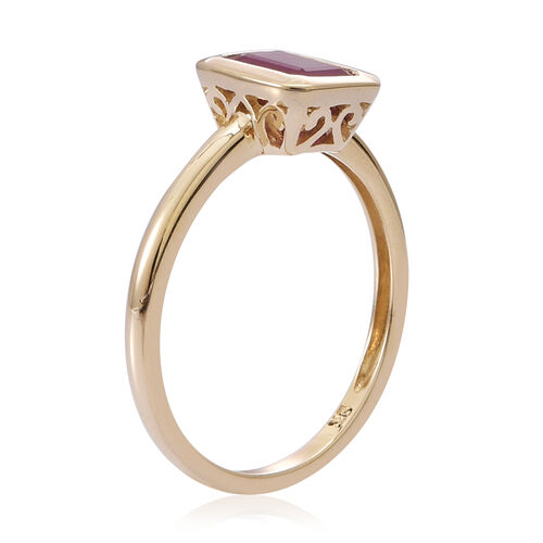 9K Y Gold Burmese Ruby (Oct) Solitaire Ring 1.000 Ct.
