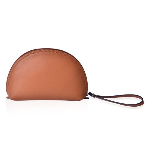 Tan Colour Cosmetic Bag (Size 23x15.5x7 Cm)