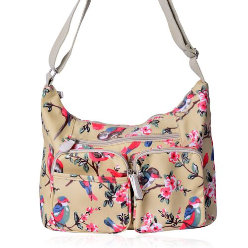 Designer Inspired - Beige and Multi Colour Floral and Birds Pattern Crossbody Bag with External Zipper Pocket and Adjustable Shoulder Strap (Size 34X22.5X12 Cm)