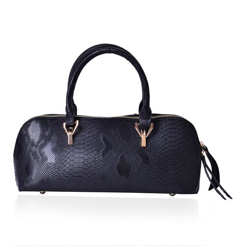 Snake Skin Pattren Black Colour Tote Bag (Size 34x15x13 Cm)