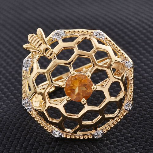 Citrine (Rnd 0.65 Ct), White Topaz Ring in 14K Gold Overlay Sterling Silver 0.750 Ct.