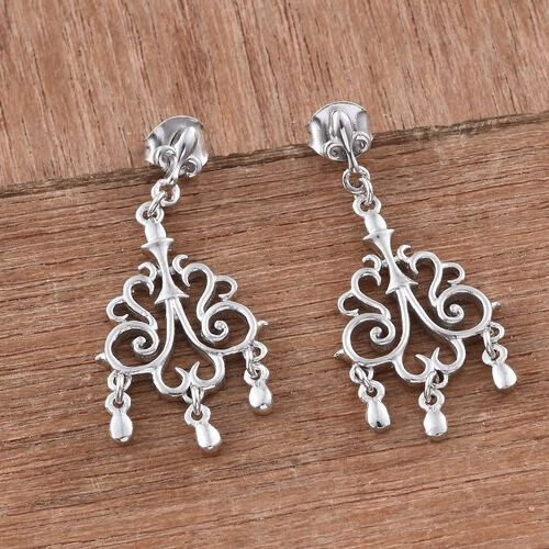 Designer Inspired -Platinum Overlay Sterling Silver Chandelier Earrings (with Push Back), Silver wt 4.79 Gms.