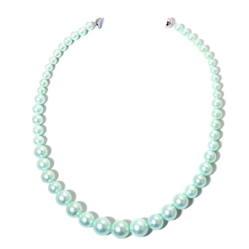 Graduated Mint Green Colour Shell Pearl Necklace (Size 20) with Rhodium Plated Sterling Silver Magnetic Lock and Stretchable Bracelet (Size 7.5)