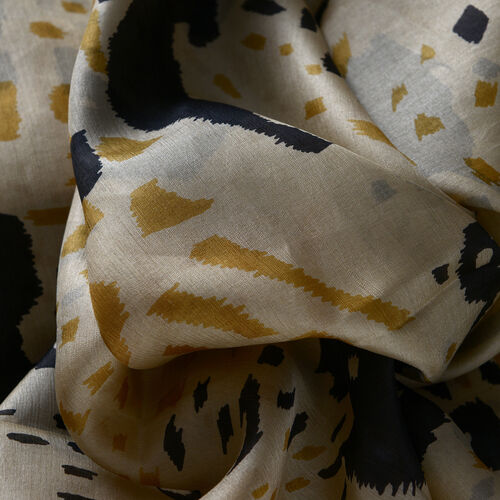 100% Mulberry Silk Black and Beige Colour Printed Scarf (Size 180x100 Cm)