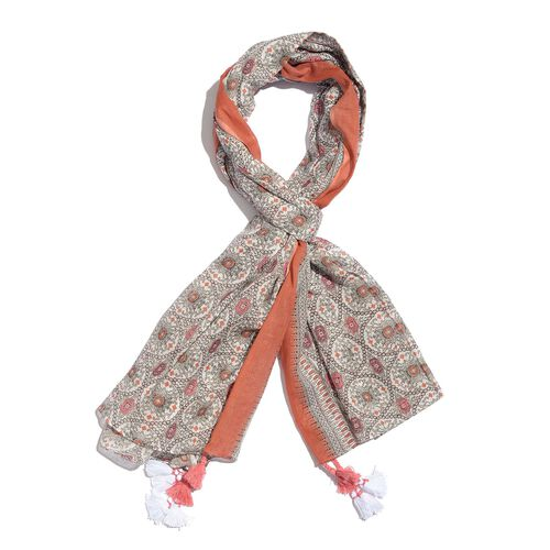 100% Cotton Orange, White and Multi Colour Printed Scarf with Tassels (Size 200X180 Cm)