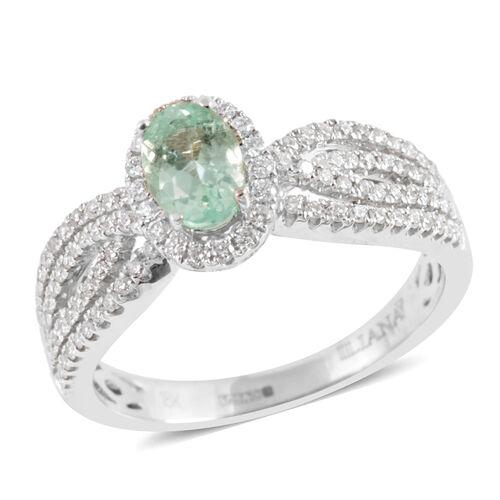 ILIANA 18K W Gold AAAA Mozambique Paraiba Tourmaline (Ovl), Diamond Ring