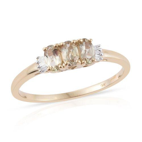 9K Yellow Gold AA Natural Turkizite (Ovl), Diamond (I3/-H) Ring 0.750 Ct.