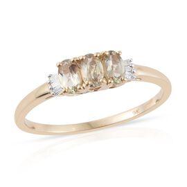9K Y Gold AA Natural Turkizite (Ovl), Diamond (I3/-H) Ring 0.750 Ct.