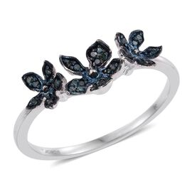 Kimberley Forget Me Not Collection - Blue Diamond (Rnd) Triple Floral Ring in Platinum Overlay Sterling Silver 0.150 Ct.