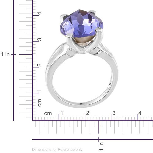 Crystal from Swarovski - Tanzanite Colour Crystal (Pear) Ring in Sterling Silver 10.750 Ct.