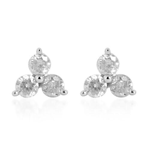 9K White Gold 0.25 Carat Diamond Stud Earrings (with Push Back) I3 G-H, SGL Certified