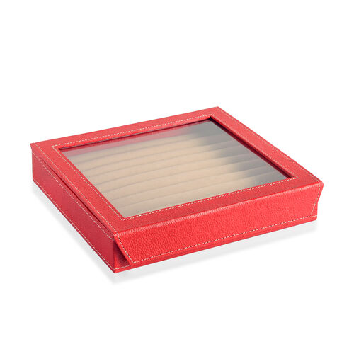 Hand Crafted - Eco Faux Leather Red Colour 100 Slot Ring Box with Magnetic Closure (Size 24x22x4 Cm)