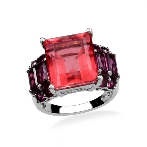 Amits Special Deal - Padparadscha Quartz (Oct 12.25 Ct), Rhodolite Garnet Ring in Platinum Overlay Sterling Silver 15.500 Ct.