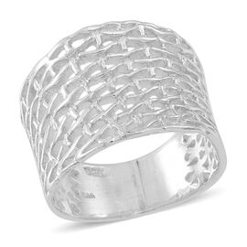 Thai Rhodium Plated Sterling Silver Weave Net Design Ring, Silver wt 5.80 Gms.