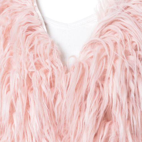 Designer Inspired Pink Colour Faux Fur Vest (Size 60X52 Cm)