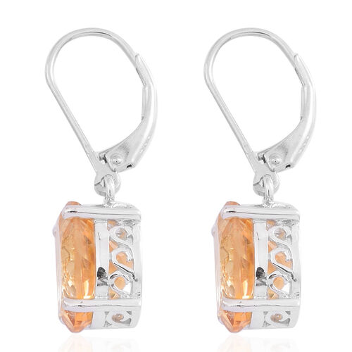 Rare AAA Uruguay Citrine (Ovl) Lever Back Earrings in Rhodium Plated Sterling Silver 8.000 Ct.