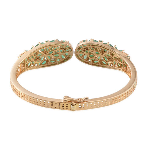 Kagem Zambian Emerald (Pear) Bangle (Size 7.5) in 14K Gold Overlay Sterling Silver 11.000 Ct.