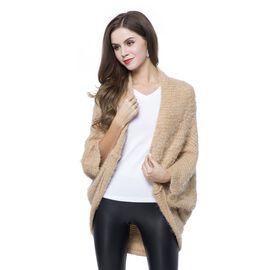 Designer Inspired Coffee Colour Winter Boho Chic Sleeve Kimono (Size 108x48 Cm)