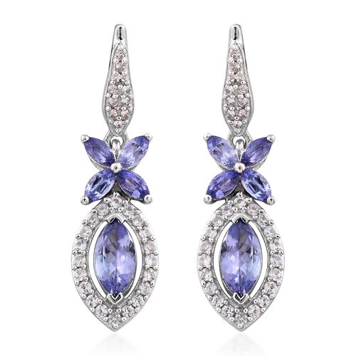 Designer Inspired-Tanzanite (Mrq), Natural Cambodian Zircon Earrings (with Push Back) in Platinum Overlay Sterling Silver 1.750 Ct.