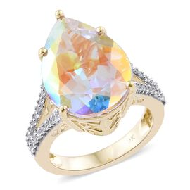 9K Y Gold Mercury Mystic Topaz (Pear 12.60 Ct), Natural Cambodian Zircon Ring 13.000 Ct.
