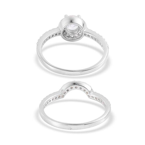 AAA Simulated White Diamond 2 Ring Set in Rhodium Plated Sterling Silver