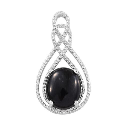 Designer Inspired Black Tourmaline (Ovl) Infinity Pendant in Platinum Overlay Sterling Silver 4.000 Ct.