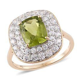 9K Y Gold AAA Hebei Peridot (Cush 3.05 Ct), Natural Cambodian Zircon Ring 4.750 Ct.