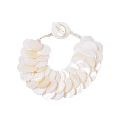 White Shell Coin Bracelet (Size 7.5) and Hook Earrings in Silver Tone