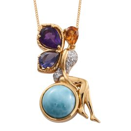 GP Larimar (Rnd 4.75 Ct), Lusaka Amethyst, Iolite, Citrine, Natural Cambodian Zircon and Kanchanaburi Blue Sapphire Pendant with Chain in 14K Gold Overlay Sterling Silver 6.750 Ct. Silver wt 6.42 Gms.