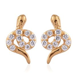 J Francis - 14K Gold Overlay Sterling Silver (Rnd) Snake Earrings (with Push Back) Made with SWAROVSKI ZIRCONIA