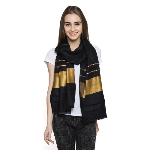Limited Available - 100% Cashmere Wool Black and Golden Colour Shawl (Size 200x70 Cm)