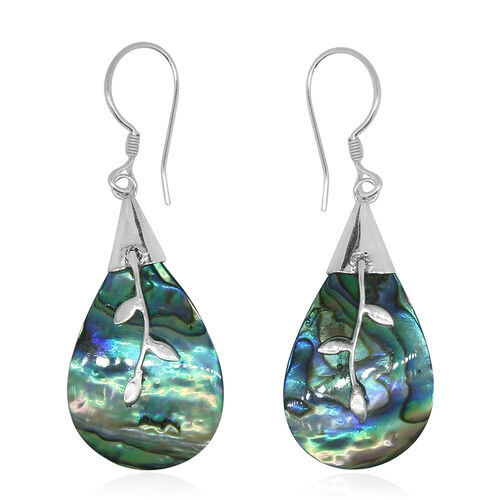 Royal Bali Collection Abalone Shell Drop Hook Earrings in Sterling Silver 18.000 Ct.