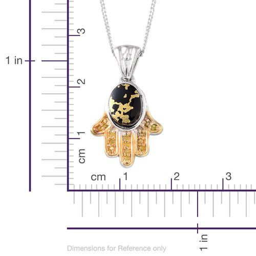 Goldenite (Ovl 1.00 Ct), Yellow Diamond Hmsa Hand Pendant With Chain (Size 18) in Platinum and Yellow Gold Overlay Sterling Silver 1.050 Ct.
