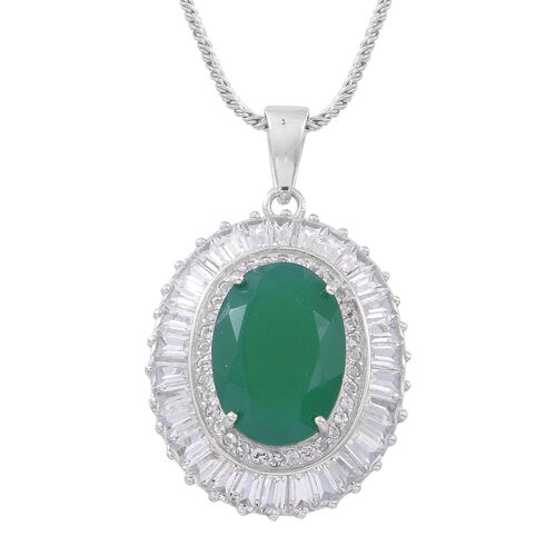 Verde Onyx (Ovl 5.25 Ct), White Topaz Pendant With Chain (Size 30) in Rhodium Plated Sterling Silver 7.850 Ct.