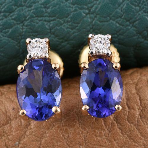 ILIANA 18K Yellow Gold AAA Tanzanite Ovall, Diamond (SI G-H) Earrings 1.75 Carat with Screw Back.