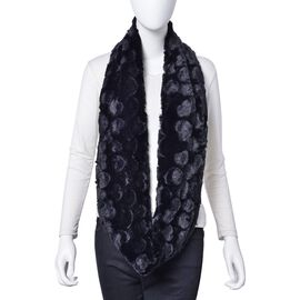 Designer Inspired- Black Colour Heart Pattern Faux Fur Infinity Scarf (Size 80X20 Cm)