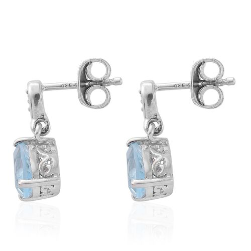 Sky Blue Topaz, Natural Cambodian Zircon 1.50 Ct Silver Earrings with Push Back in Platinum Overlay