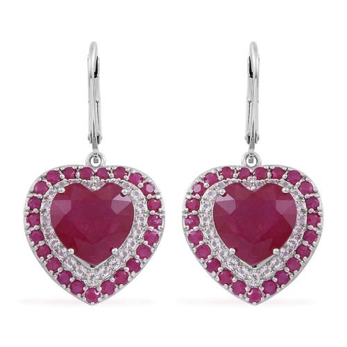 Red Carpet Collection- African Ruby (Hrt), Burmese Ruby and White Topaz Lever Back Earrings in Rhodium Plated Sterling Silver 13.500 Ct.