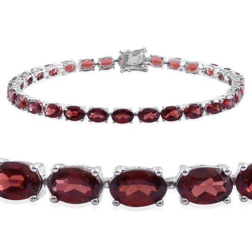Odisha Rhodolite Garnet (Ovl) Tennis Bracelet (Size 7.5) in Platinum Overlay Sterling Silver 17.500 Ct.